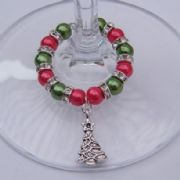 Traditional Christmas Tree Wine Glass Charm - Full Sparkle Style